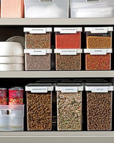 martha stewart stackable food storage containers and organizers Food Storage Organization, Dry Food Storage, Storage Containers, Plastic Containers, Organizing Tips, Baking Storage, Pet Storage, Storage Ideas, Pantry Storage