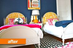 "Really neat ""after"" photo of vintage twin beds found at a yard sale.  Good inspiration for painting old furniture white!"