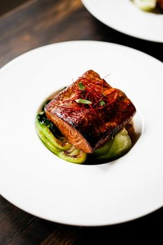 Five Spice Salmon over baby bok choy.