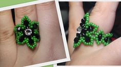 Easy Beaded Flower Ring Beading Tutorial by HoneyBeads (Photo tutorial)