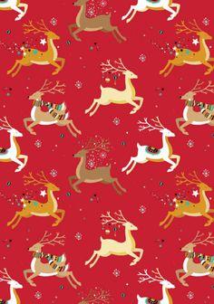 FREE printable Christmas scrapbook paper - reindeer design