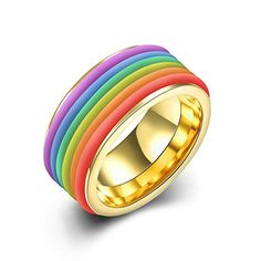 * Penny Deals * - Women's Rainbow Titanium Stainless Steel Ring Wedding Bands Engagement Promise Rings, High Polish Finish Comfort Fit Size 6, Gold 316L -- Find out more about the great product at the image link.
