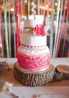Wedding Cake: Pink truffle cake | Photo by: Julie Paisley on Southern Weddings via Lover.ly