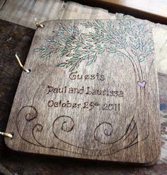 Woodburned Wedding Guest Book Tree by LazyLightningArt on Etsy, $40.00