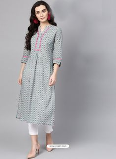Light Grey Cotton Printed Readymade Kurti For Women for your Parties or Festivals. ✔ Custom stitching available. ✔ Express shipping to UK, US, Canada and world-wide. Kurti Sleeves Design, Kurta Neck Design, Sleeves Designs For Dresses, Dress Neck Designs, Simple Kurta Designs, Kurta Designs Women, Pakistani Dresses Casual, Pakistani Dress Design, Printed Kurti Designs
