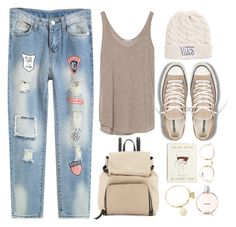 """""""Ripped and Fabulous"""" by donut-care ❤ liked on Polyvore featuring Converse, Zara, Ray-Ban, Vans, Rifle Paper Co, Kate Spade, Alex and Ani, StreetStyle and rippedjeans"""