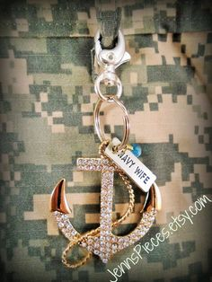 Navy Wife or Marine Wife KEYCHAIN key chain by Jennspieces on Etsy