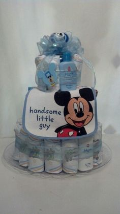 Mickey Mouse Diaper Cake Princess Diaper Cakes, Diaper Cake Boy, Baby Boy Cakes, Mickey Mouse Baby Shower, Baby Mouse, Baby Shower Parties, Baby Boy Shower, Mickey Cakes, Towel Cakes