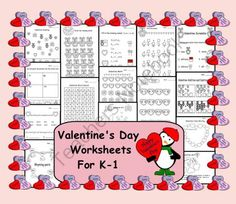 15 Valentines Day Worksheets for K-1 from Teaching The Smart Way on TeachersNotebook.com -  (15 pages)  - 15 Valentine's Day Worksheets for K-1