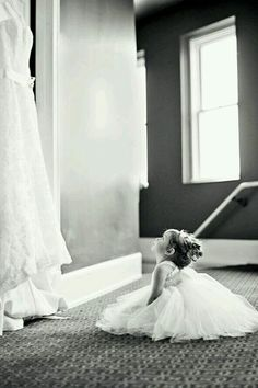 Flower girl looking at the wedding dress. This photo can also double as a gift for the flower girl on her own wedding day! Also the flower girl standing in the bridal shoes. Romantic Wedding Photos, Wedding Poses, Wedding Engagement, Wedding Dresses, Bridal Gowns, Must Have Wedding Pictures, Romantic Weddings, Wedding Dress Pictures, Party Pictures