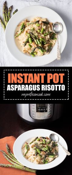 Instant Pot Asparagus Risotto is the perfect early spring dish. It's great for asparagus lovers and making risotto is easier than ever with the Instant Pot. Mushroom Asparagus Risotto, Asparagus Risotto Recipe, Risotto Recipes, Pasta Recipes, Cooking Recipes, Instant Pot Pressure Cooker, Pressure Cooker Recipes, Pressure Cooking, Veggie Recipes Healthy