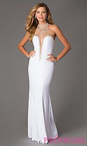 Buy Floor Length Illusion Bodice Dress by Swing Prom at PromGirl