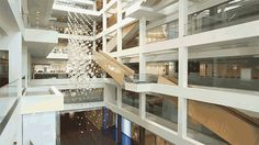 Watch This Mesmerizing Sculpture Morph Like a Flock of Birds | Diffusion Choir is a kinetic sculpture that hangs from the atrium of BioMed Realty. | Credit: Hypersonic/Sosolimited/Plebian Design | From Wired.com