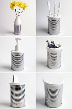 """Design by Jack Bresnahan   """"Tin Can Lids""""   There are 9 plastic lids in the set, which turn the cans into objects including a vase, soap dispenser, sugar caster, tea and coffee canisters, toothbrush holder, money box and desk tidy."""