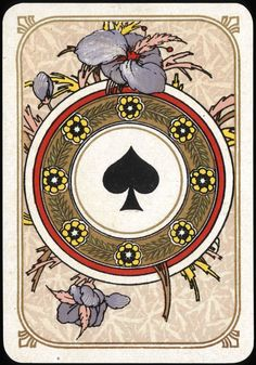 Vintage Playing card - Ace of Spades - Art Nouveau 2