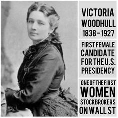 Victoria Claflin Woodhull, later Victoria Woodhull Martin was an American leader of the woman's suffrage movement. In Woodhull was the first female candidate for President of the United States. Women In History, World History, Ancient History, Great Women, Amazing Women, Beautiful Women, Interesting History, Famous Women, Historical Photos
