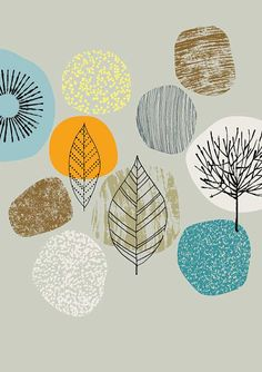 Nature limited edition giclee print by EloiseRenouf on Etsy Textures Patterns, Print Patterns, Stencil, Motifs Textiles, Illustrations, Illustration Art, Grafik Design, My Drawings, Design Elements