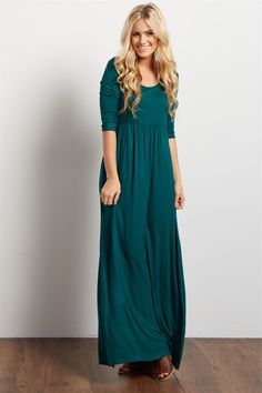 A gorgeous ¾ sleeve maxi dress for a casually elegant look this season. Style it up or down for whatever occasion and you'll feel comfortable and look amazing from start to finish.