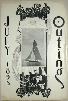 """Poster for the July 1895 issue of """"Outing"""" magazine. A photographic image of a large sailboat is superimposed on a highly stylized Art Nouveau illustration of a man and woman arm and arm beneath a parasol. This graphic technique is characteristic of its designer, Henry Sumner Watson, who fashioned approximately forty posters for magazines from 1895 to 1897."""