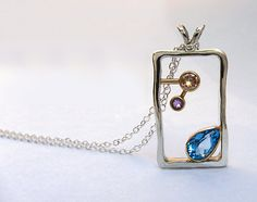 ~ Sale - Blue Topaz, Champagne Diamond and Amethyst 14k and Sterling Necklace, Unique Diamond Necklace ~ This whimsical necklace is a one-of-a-kind piece sure to get compliments! Its elegant and funky at the same time, capturing the many moods of you or your special girl. An