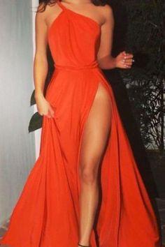 One Shoulder Pro Kleid, Split Chic Ballkleid, formelles Abendkleid - Women Dress Formal Evening Dresses, Elegant Dresses, Pretty Dresses, Sexy Dresses, Short Dresses, Dress Formal, Dress Long, High Slit Dress, Casual Dresses