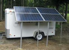 Solar power trailer: Part 1 by Jeffrey Yago, P.E., CEM.. He tells us that we can build a solar trailer can create energy  for camping,  power equipment or even use at home ( business ) as a back up power source instead of a generator.