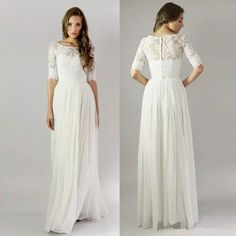Scoop Neck 2016 Modest Wedding Dresses Half Sleeves Lace Wedding Gowns Button Back Boho Wedding Dress A Line Long Floor Chiffon Bridal Gowns Bridal Stores Bride Dress From Cosmobride, $105.53  Dhgate.Com