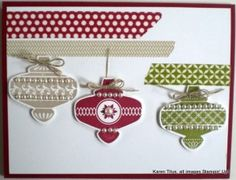 Stampin Up O is for Christmas Ornament Punch. Use it with the Christmas Collectibles stamp set and Season of Style Washi Tape to make a quick and easy Christmas card