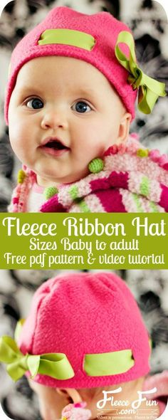 Fleece Ribbon Hat DIY Tutorial and FREE Pattern!!!  This free fleece hat pattern is cute and relatively easy to make! free-fleece-hat-pattern-fleece-ribbon-hat-patternThis ribbon hat is adorable on little girls!  This fleece project has easy sew options i