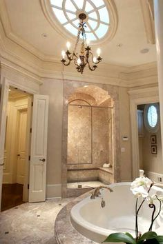 I enjoy all of the moulding in this bathroom.  The rest not so much, but I love the ceiling and trimwork.  AC