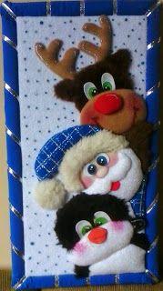 MARDEDI: ¡YA LLEGO LA NAVIDAD! HERMOSOS CUADROS Blue Christmas Decor, Felt Christmas, Christmas Decorations To Make, Christmas Crafts, Xmas, Christmas Ornaments, Holiday Decor, Felt Dolls, Scrap