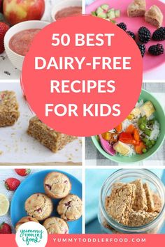 Find the best kid-friendly dairy-free recipes to make feeding toddlers and kids with milk allergies and intolerances easy and delicious. Dairy Free Recipes For Toddlers, Dairy Free Snacks, Dairy Free Breakfasts, Dairy Free Diet, Allergy Free Recipes, No Dairy Recipes, Baby Food Recipes, Dairy Free Kids Meals, Recipes Dinner