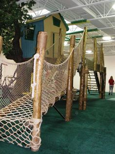 Rope Bridge Leading to Treehouse- love the rope bridge on this indoor treehouse