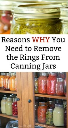 Should I Remove the Rings From My Canning Jars? - One Hundred Dollars a Month Should I Remove the Rings From My Canning Jars?, Canning Basics, Canning Tips, Canning Hacks Pressure Canning Recipes, Home Canning Recipes, Canning Tips, Pressure Cooking, Oven Canning, Canning Pears, Easy Canning, Jam Recipes, Yummy Recipes