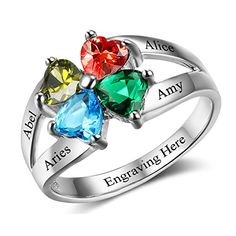 Personalized Infinity Ring for Her Friendship Gift Love Symbol Engagement Rings Birthstones Promise Rings for Her