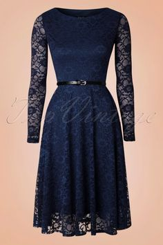 intage Chic - 50s Sylvia Lace Swing Dress in Navy