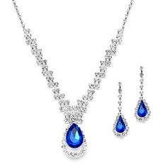 Prom or Bridesmaids Rhinestone Necklace Set with Royal Blue Caged Pear