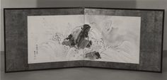Rock and Waves Artist:Maruyama Ōkyo (Japanese, 1733–1795) dated 1773 Culture:Japan Medium:Two-panel folding screen; ink and color on paper