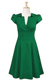 Surplice front poplin dress.  Flattering cut, adorable, great color!  Fun for spring!