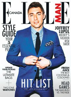 Maple Leafs forward Joffrey Lupul is our ELLE Man aw Handsome Male Models, Summer Suits, Man Bun, Toronto Maple Leafs, Best Bags, Hockey Players, Photoshoot Inspiration, Suit Jacket, Blue And White