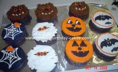 Halloween Cupcakes: I made these mini Halloween cupcakes in 4x1 1/4 inch cake pans. I got the pans off of the Wilton web site.   For the warewolf cakes I used brown frosting