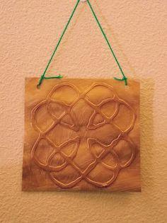 celtic kids crafts, celtic designs, st. patricks day kids crafts, glue pictures, celtic glue pictures, biocolor paint