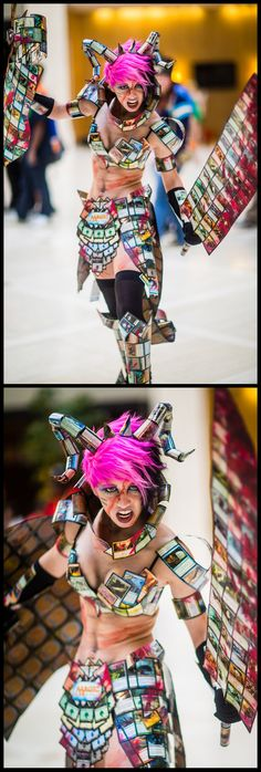 This chic made her entire cosplay out of Magic Cards. I'm sorry but that is the most unique and awesome Cosplay I have seen yet