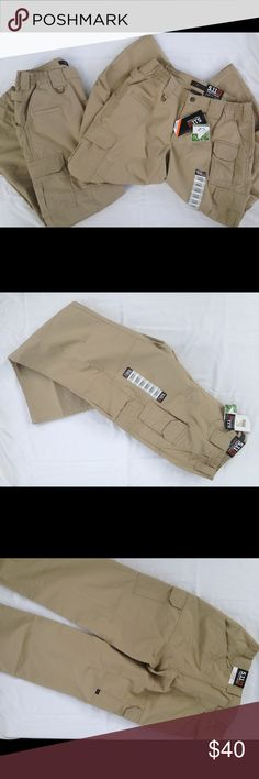 5.11 Women's tactical pants Women's 12 regular, khaki  These lightweight, yet durable pants with  Ripstop technology are perfect for all your outdoor adventures. With 8 pockets and reinforced knees and rear these pants are tougher than 3 month old beef jerky, but way more comfortable. They are also coated with a teflon coating to keep you cool and dry while you wear them.   I have two pairs I'm looking to sell, one NWOT, and one NWT. They are $40 individually or $65 for both of them. Feel…