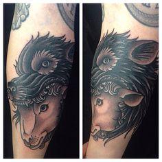 Sheep in wolf's clothing.  Work by Mark Jeffery of High Tides Tattoo in Saint John, New Brunswick.  http://instagram.com/markdjeffrey/