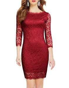 WOOSEA Elegant 3/4 Sleeve Full Flroal Lace Short Cocktail Dress (Medium, Burgundy) ** Read more reviews of the product by visiting the link on the image.
