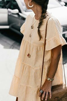 Gingham baby-doll dress.