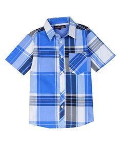 Look at this #zulilyfind! Blue & White Plaid Button-Up - Boys #zulilyfinds