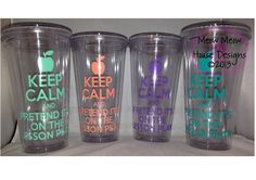 Teacher Gift - Keep Calm and Pretend It's on the Lesson Plan Tumbler - CLEAR tumbler - 16 oz Double Wall Personalized Cup - BFCMSALE by MeowMeowHouseDesigns on Etsy https://www.etsy.com/listing/116540569/teacher-gift-keep-calm-and-pretend-its