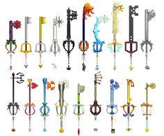 All 18 of Sora's Keyblades plus Mickey's Keyblade from the first Kingdom Hearts. I finally figured out the KH1 *.wpn format so now I am able to get all the weapon models.I'll get to ripping Donald ...
